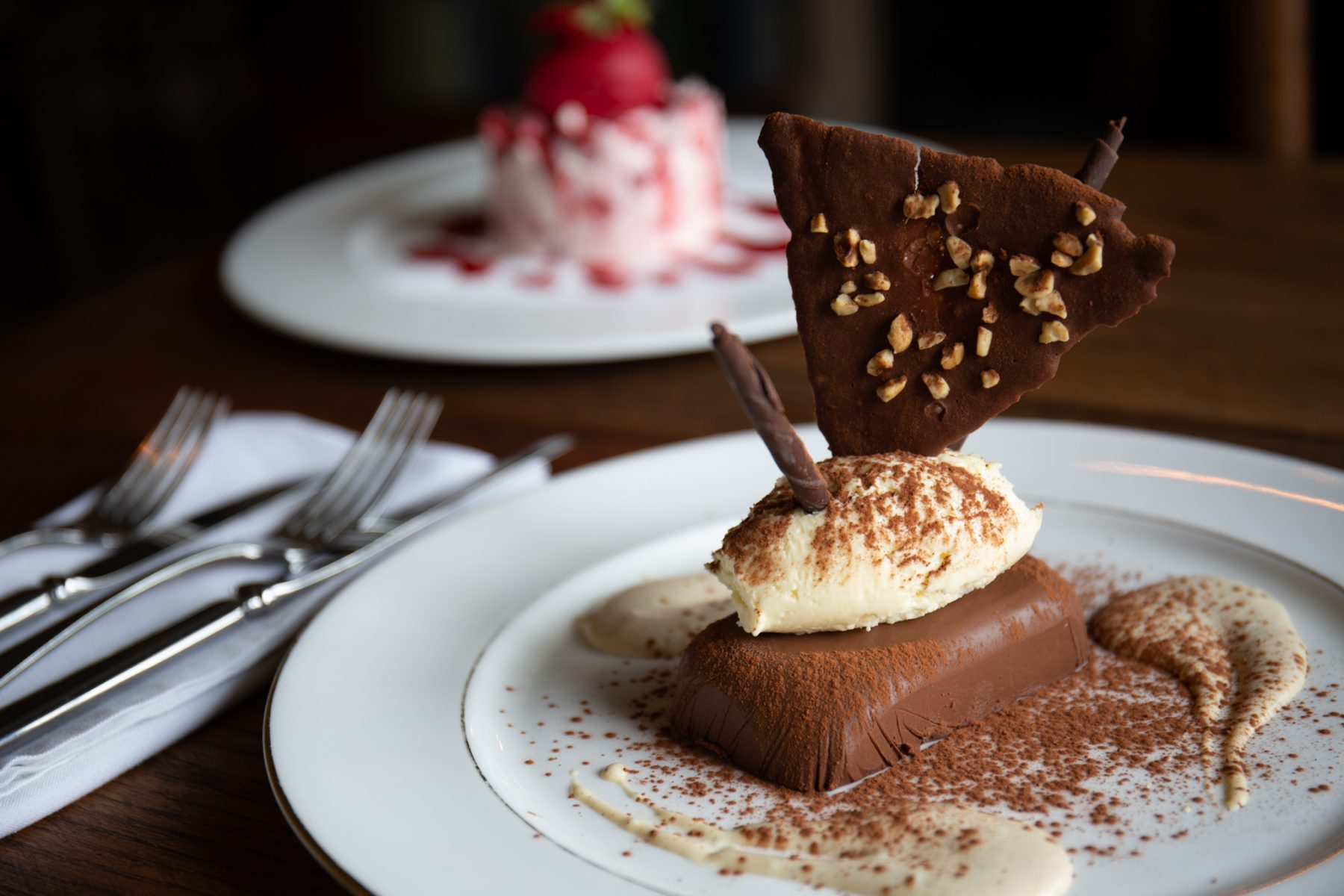 A dessert dish from The Old Post in Chesterfield - brand photography